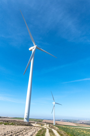 Wind turbines.Wind turbines generating electricity with blue sky energy conservation concept.