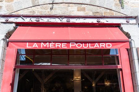 MONT SAINT-MICHEL - FRANCE- APRIL 17, 2019 : Restaurant La mere Poulard in Mont Saint-Michel, France.