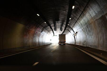 Heavy truck in a tunnel in Europe