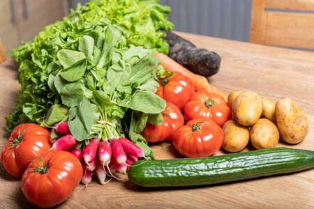 Varied organic vegetable harvest on a wooden kitchen table Фото со стока