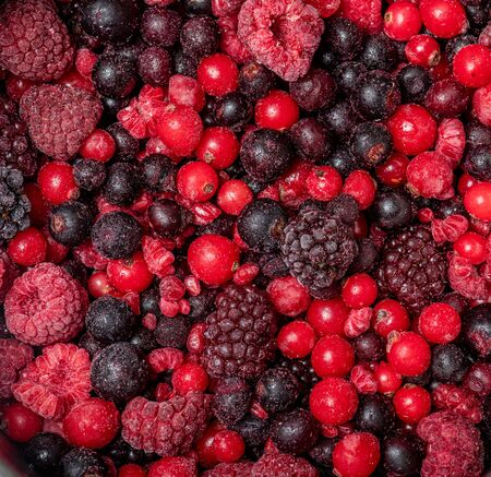 Assortment of frozen red fruits