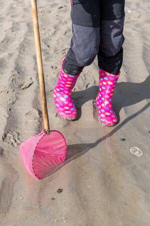 Little girl on a beach with a net