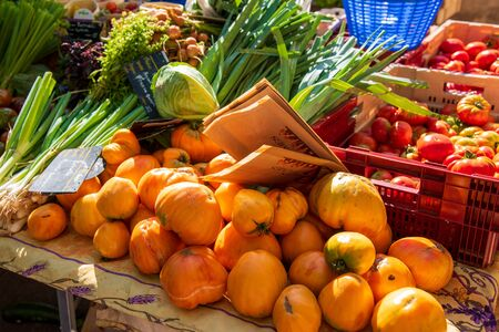 Stall of vegetables on a market, France, Provence,summer