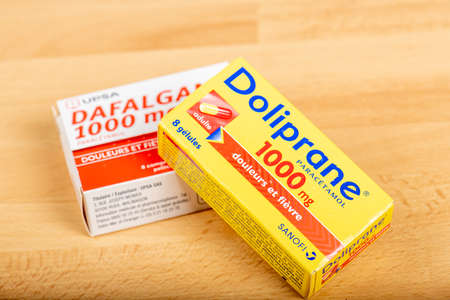Paris, France - June 19, 2020 : Boxes of Doliprane and Dafalgan, a paracetamol-based analgesic. France wants to relocate its production of Paracetamol on its territory Редакционное