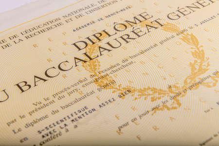 Paris, France-April, 15, 2020- Baccalaureate certificate  in France Редакционное