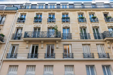 Paris, France - October 26, 2020: Haussmann architectural building in Paris, France