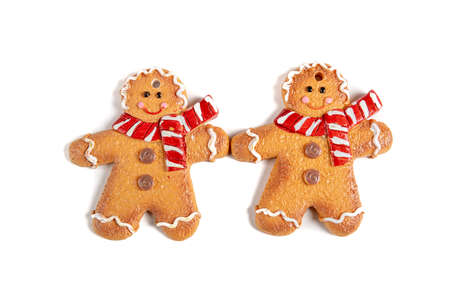 Gingerbread decoration on white background