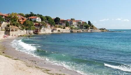 Strand am Schwarzen Meer in Nessebar, Bulgaria