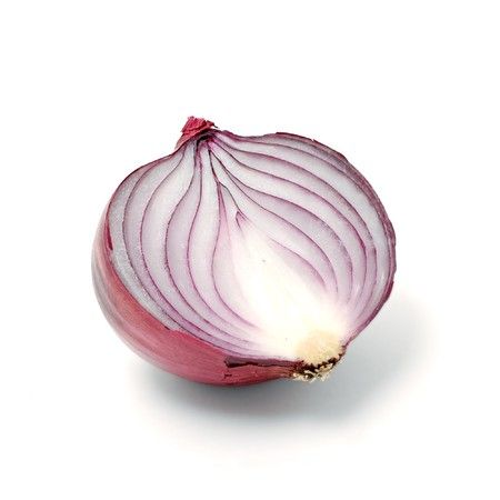 Violet onion cut in half over white background