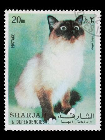 SHARJAH AND DEPENDENCIES, UAE - CIRCA 1972: A stamp printed in Sharjah and Dependencies shows cat, circa 1972