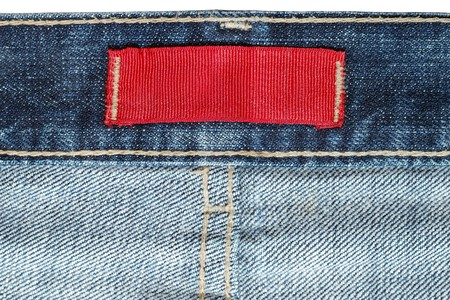 red jeans: Label on jeans