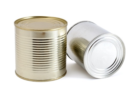 Two tin cans on white background photo