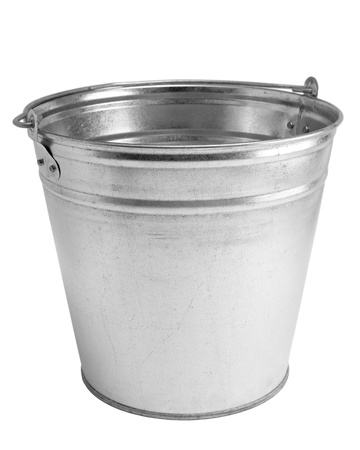 Metallic bucket on white background