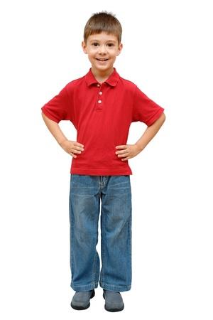 boy body: Full-length portrait of happy little boy Stock Photo