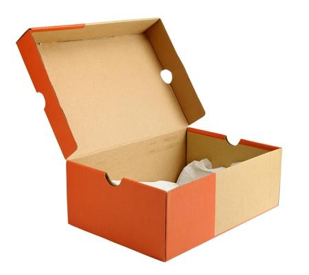 Scatola di cartone scarpa vuoto aperto isolato su sfondo bianco Archivio Fotografico - 10020577