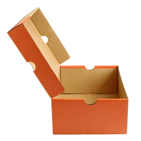 Open empty shoe cardboard box isolated on white background Stockfoto