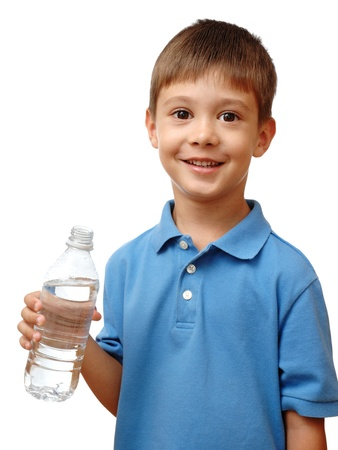 Happy child holds bottle of water isolated on white background photo
