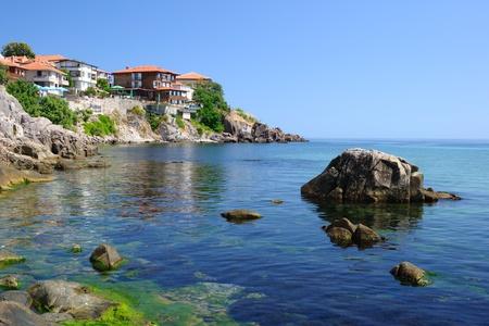 K�ste des Schwarzen Meeres in der alten Stadt von Sozopol in Bulgarien Lizenzfreie Bilder