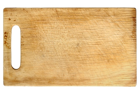 Used wooden chopping board isolated on white background photo