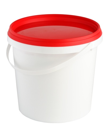 lid: Plastic container isolated on white background Stock Photo
