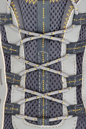 lacing sneakers: Shoelace on sneakers closeup Stock Photo