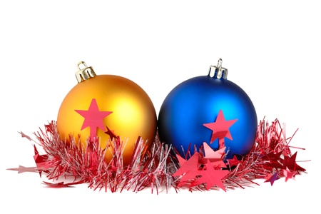 Christmas balls and tinsel isolated on white background Stock Photo - 10764501