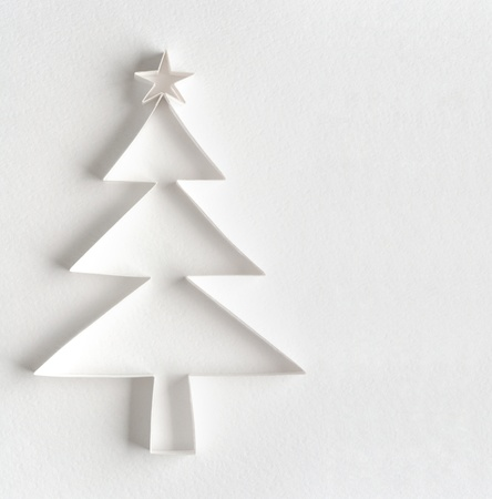 Christmas tree made of paper on white background Stock Photo - 10858235