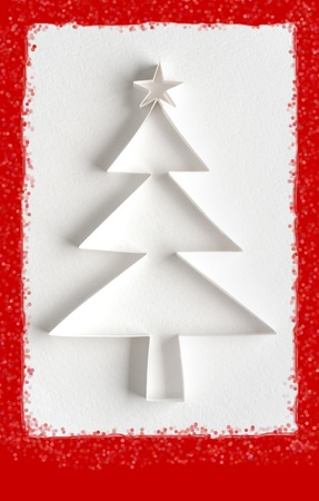 Greeting card - Christmas tree made of paper Stock Photo - 10858234