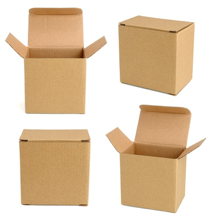 four objects: Collection of cardboard boxes isolated on white background Stock Photo