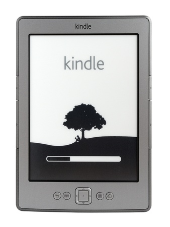 Taganrog, Russia - November 5, 2011: New latest generation Kindle e-book reader from Amazon.com Inc. 에디토리얼