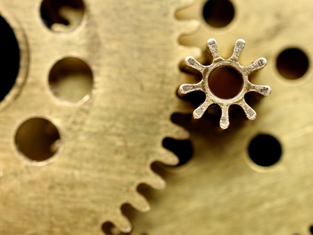 Old mechanism with gears closeup photo