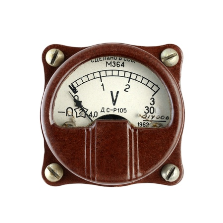 voltmeter: Old voltmeter isolated on white background Stock Photo