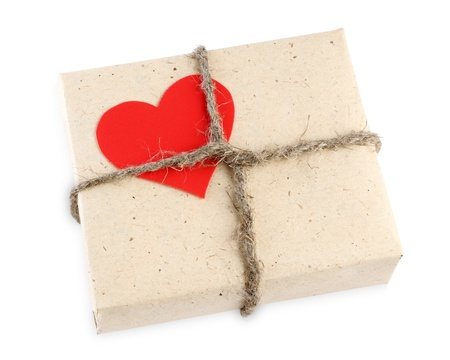 Valentines Day gift box isolated on white background photo