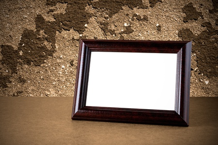 Old Wooden Photo Frame On Grunge Background Stock Photo Picture And