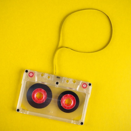cassette tape: Old audio cassette with speech box Stock Photo