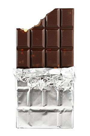 bar of chocolate: Chocolate bar in foil isolated on white background