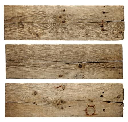 Vecchie tavole di legno isolato su sfondo bianco