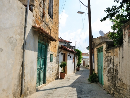Straat in Omodos dorp, Republiek Cyprus Stockfoto