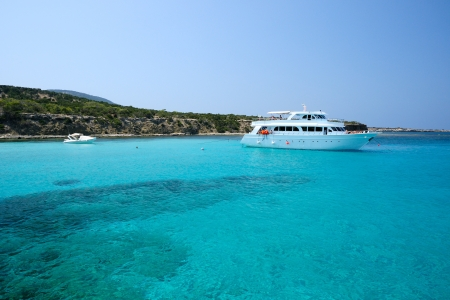 Yacht in blue lagoon
