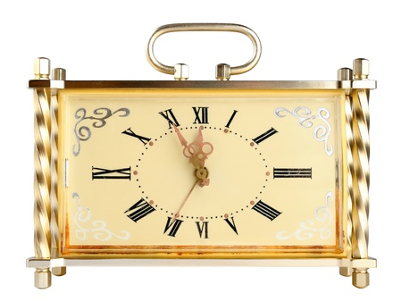 Vintage clock isolated on white background photo