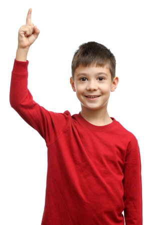 affective: Happy child with good idea holds finger up isolated on white background Stock Photo