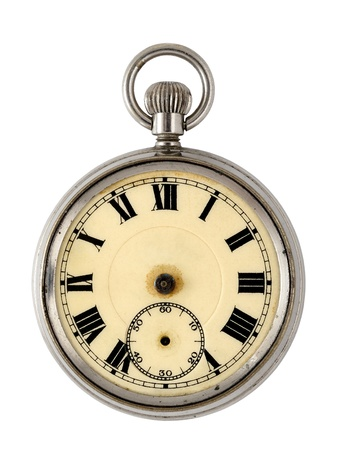 pocket watch: Vintage watch isolated on white background Stock Photo