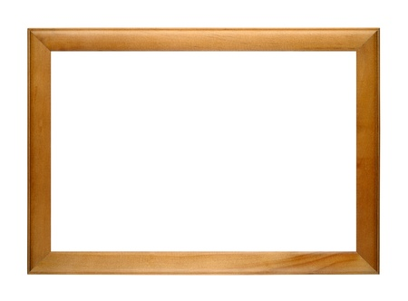 old picture: Wooden photo frame isolated on white background Stock Photo
