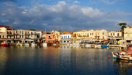 rethymno: Old Venetian harbour in city of Rethymno, Crete, Greece Stock Photo