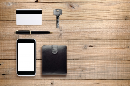wallet: Everyday accessories and objects on wooden background