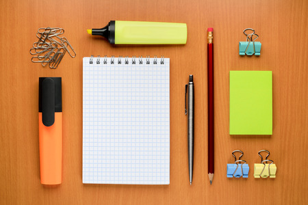 Set of office supplies on table photo