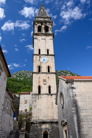 Bell tower next to St. Nicholas church in town Perast, Montenegro