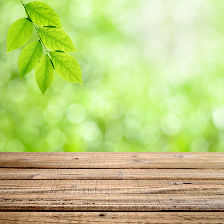 Old wooden table with green nature background