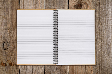 notebook paper background: Notepad on old wooden background Stock Photo
