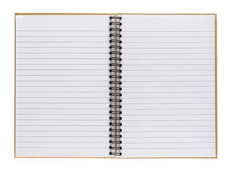 Opened notepad isolated on white background photo